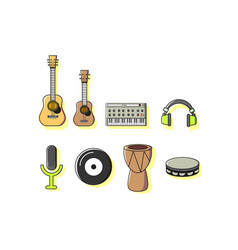 colorful music instruments icon sets vector image