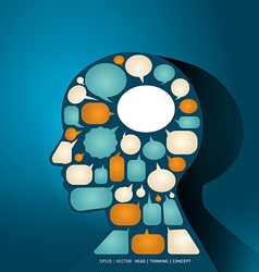 Elements speech bubbles make in man think concept vector image