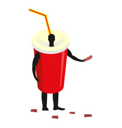 paper cup man mascot promoter male in suit drink vector image vector image
