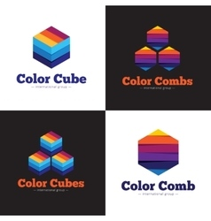 set of minimalistic colorful cubes and vector image