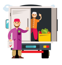 unloading truck flat style colorful vector image