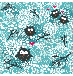 Winter seamless pattern with owls and snow vector image