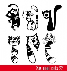 band of six flunkey cats vector image vector image