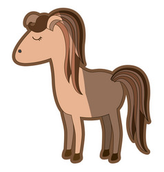 Brown clear silhouette of cartoon female horse vector