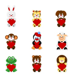 Cute animal valentines1 vector image vector image