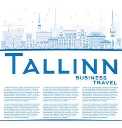 Outline Tallinn Skyline with Blue Buildings vector image vector image