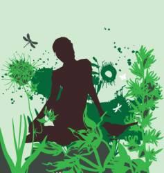 the girl in the garden vector image vector image
