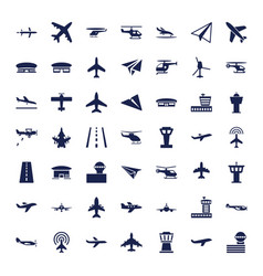 49 aviation icons vector