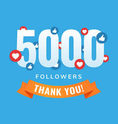 5000 followers social sites post greeting card vector image