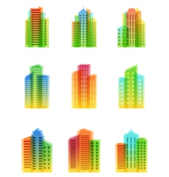 a set of bright houses icons vector image
