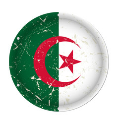 algeria - round metal scratched flag screw holes vector image