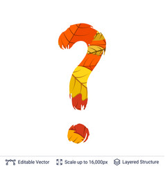 Autumn fall bright orange leaves question sign vector