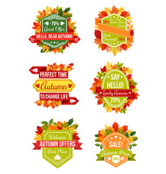 autumn sale label and fall promotion badge set vector image