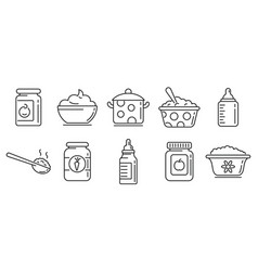 Baby kitchen icons set outline style vector