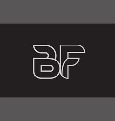 Black and white alphabet letter bf b f logo vector