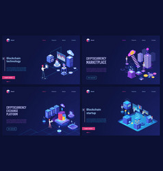 blockchain cryptocurrency marketplace technology vector image