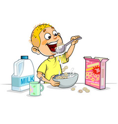 Boy having breakfast vector