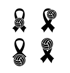 Breast cancer volleyball vector