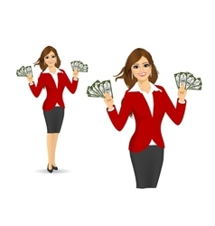Businesswoman holding money vector