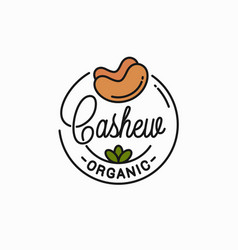 cashew nut logo round linear on white vector image