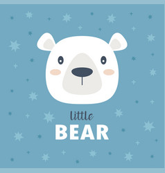childish poster with cute bear vector image