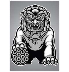 Chinese lion statue vector