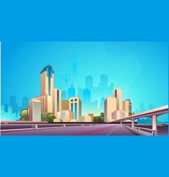 city street buildings skyline view vector image