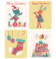 Collection of cute flat christmas card vector