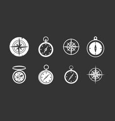 compass icon set grey vector image