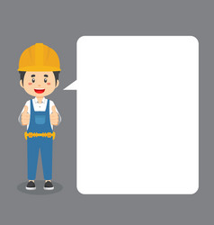 Construction workers making thumb up with speech b vector