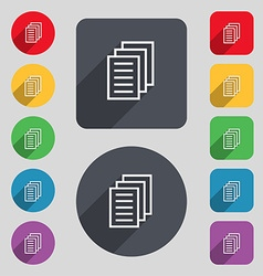 Copy file Duplicate document icon sign A set of 12 vector image