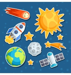 Cosmic icon set solar system planets and vector
