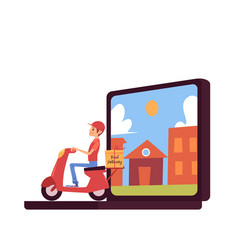 courier man shipping box and riding scooter out of vector image