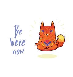 cute baby fox in lotus meditation yoga poses vector image