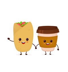 cute funny smiling happy buritto vector image