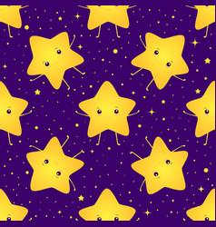 cute kawaii bright smiling stars seamless sweet vector image