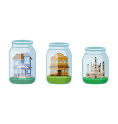 Decorative castle and mansion rested in glass jar vector