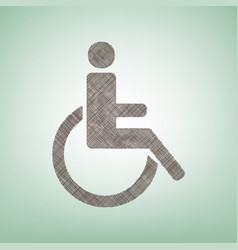 Disabled sign brown flax vector