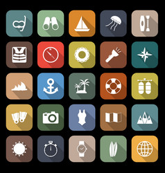 Diving flat icons with long shadow vector