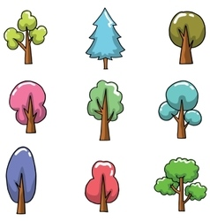 Doodle of many tree set various vector