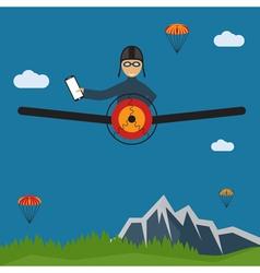 extreme selfie pilot flat design vector image