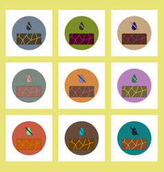 Flat icons set of cracked earth and drought vector