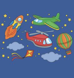 Fly cartoon space clipart vector