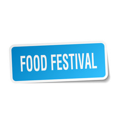 Food festival square sticker on white vector