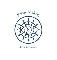 fresh seafood emblem vector image