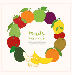 fruits cute banner background template with copy vector image