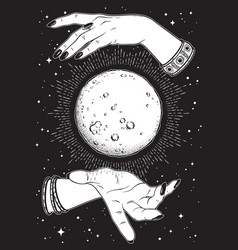 full moon in hands of fortune teller vector image