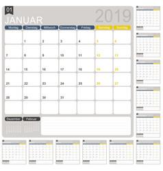 German calendar 2019 vector