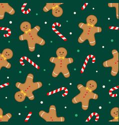 gingerbread man and candy cane green pattern vector image