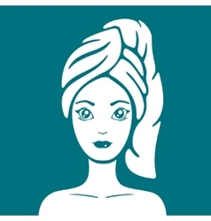 Girl with a towel on head vector